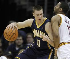 Tyler Hansbrough, left, had 13 points and eight rebounds off the bench to help the Pacers hand the Cavaliers' their 22nd straight loss.