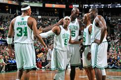 Boston's Paul Pierce (34), Rajon Rondo (9), Kevin Garnett, center, and Ray Allen, second from right, each made the 2010-2011 NBA Eastern Conference All-Star team as reserves.