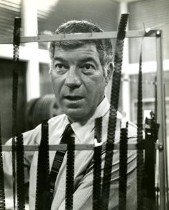 NFL Films creator Ed Sabol, shown here watching film in 1971, is a finalist for the NFL Hall of Fame.