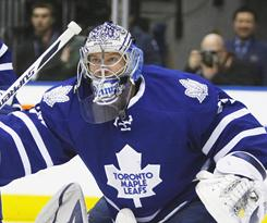 Toronto Maple Leafs goaltender James Reimer needed just nine appearances to record his first NHL shutout, 3-0 against the Carolina Hurricanes.