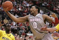 Ohio State's Jared Sullinger recorded a double-double against rival Michigan to help keep the Buckeyes undefeated.