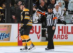 Daniel Paille of the Boston Bruins, getting a penalty against the Dallas Stars, was suspended for four games Friday for an illegal check to the head of Raymond Sawada.