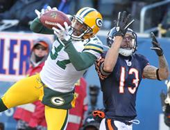Packers cornerback Sam Shields intercepts a pass intended for Bears wide receiver Johnny Knox during the NFC Championship Game.