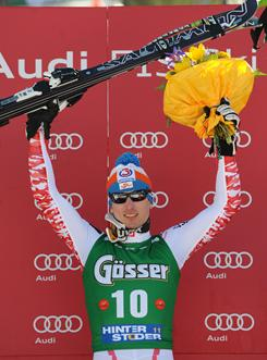 Hannes Reichelt of Austria takes 1st place during the Audi FIS Alpine Ski World Cup Men's super-G on Saturday in Hinterstoder, Austria.