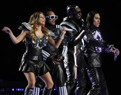 The Black Eyed Peas perform at halftime of Super Bowl XLV in Arlington, Texas.