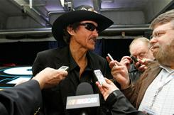 NASCAR Hall of Famer and team owner Richard Petty speaks to the media during the NASCAR Sprint Media Tour.