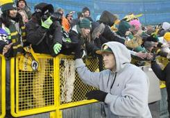 Green Bay's Clay Matthews greets fans during the Return to Titletown celebration at Lambeau Field on Tuesday.