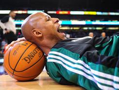 The Celtics' Ray Allen, stretching before a game against the Suns last month, needs two three-pointers to surpass Reggie Miller's record.