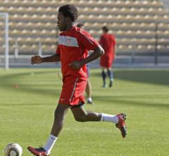 The United States' Gale Agbossoumonde, seen here in Nov. 2010, is close to joining Swedish club Djurgarden on a six-month loan.