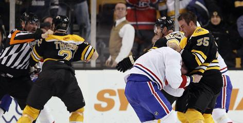 Canadiens and Bruins players squared off in the final 41 seconds, leading to four ejections.