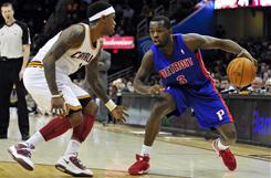 Guard Rodney Stuckey, right, led the Pistons with 22 points, helping Detroit extend the Cleveland Cavaliers' losing streak to 26 games.