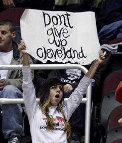 A Cleveland Cavaliers fan implores the team to keep fighting even while the Cavs are mired in an NBA-record 26-game losing streak.