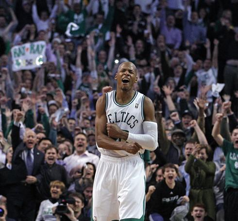 Ray Allen celebrates after