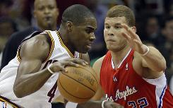 The Cleveland Cavaliers' Antawn Jamison drives past the Los Angeles Clippers' Blake Griffin in the first quarter on Friday.