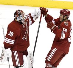 Ilya Bryzgalov (30) stopped 31 shots to help the Coyotes win their fourth straight game.