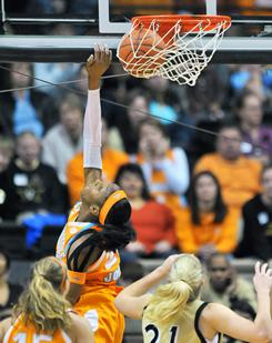 Tennessee's Glory Johnson scores two of her 10 points in Tennessee's 65-57 win against     Vanderbilt on Sunday. Johnson also had 11 rebounds for the No. 4 Lady Vols.