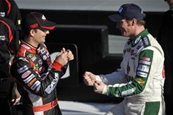 Hendrick Motorsports teammates Dale Earnhardt Jr., right, and Jeff Gordon, will start on the front row of the 2011 Daytona 500.