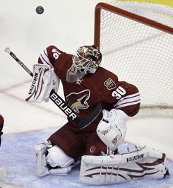 Coyotes goalie Ilya Bryzgalov makes one of his 29 saves. He held the Capitals to two goals.