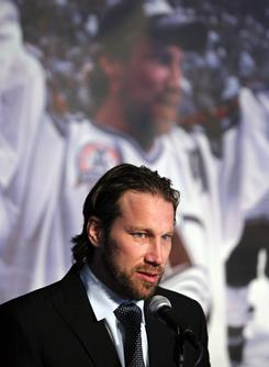 Colorado Avalanche forward Peter Forsberg announces his retirement Monday just two games into his comeback attempt.