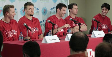 The starting five for the Phillies bolstered by offseason acquisition Cliff Lee  worked out and met the news media for the first time Monday. From left, Roy Halladay, Joe Blanton, Lee, Roy Oswalt and Cole Hamels.