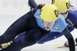 Olympian Katherine Reutter, above on her way to winning the women's 1,500 meters final in the World Cup short-track speedskating event in Moscow, added a victory in the 1,000-meter race.
