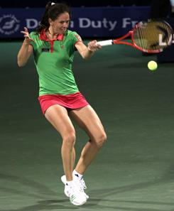 Patty Schnyder of Switzerland lines up a forehand during her victory Tuesday against Ana Ivanovic of Serbia in the Dubai Championships.