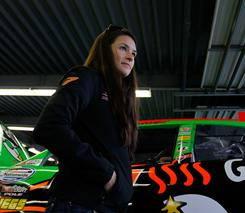 Danica Patrick walks in the garage prior to Nationwide Series practice Thursday.