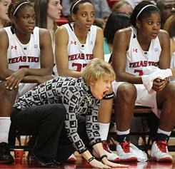 Texas Tech coach Kristy Curry shouts instructions to her team during its upset of No. 23 Iowa State.