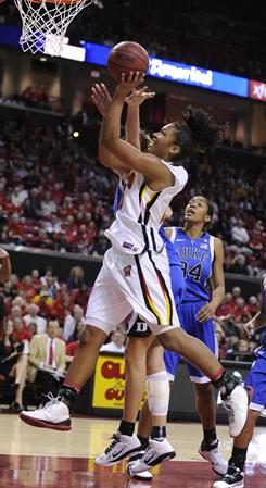 Maryland's Alyssa Thomas shoots against Duke during the second half of their game on Thursday night, in College Park, Md.