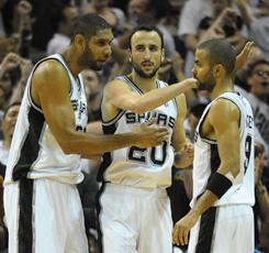 From left, Tim Duncan, Manu Ginobili and Tony Parker give the Spurs a seasoned core of talent that has carried them to the NBA's best record this season.