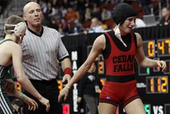 Cassy Herkelman of Cedar Falls, right, lost her quarterfinal match against Indianola's Matt Victor on Friday.