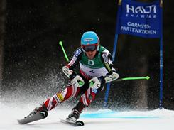 Utah's Ted Ligety skis to victory in the giant slalom at the world championships in Garmisch-Partenkirchen, Germany.