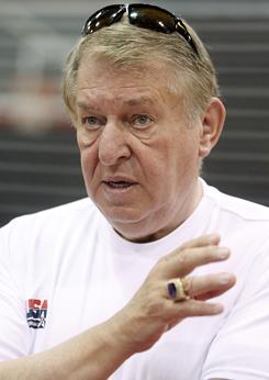 USA Basketball chairman Jerry Colangelo, seen here in July 2010, says the earlier start date for the 2012 Olympics could require submitting a roster before the NBA season is over.