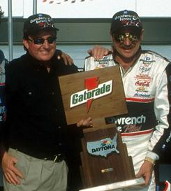 Owner Richard Childress and Dale Earnhardt after 1999 Gatorade Duel victory.