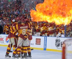 The red-hot Flames celebrate Rene Bourque's second goal of the game. Miikka Kiprusoff made 39 saves for the shutout.