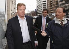 NFL Commissioner Roger Goodell arrives for the first negotiating session involving a federal mediator Friday in Washington.