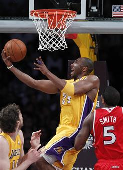 Kobe Bryant finished with 20 points in the Lakers' blowout win over the Hawks. Bryant, coming off his fourth All-Star Game MVP award, shot 5-11 from the field in 26 minutes of action.