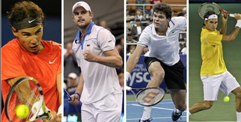 Rafael Nadal, from left, Andy Roddick, rising star Milos Raonic and Roger Federer are part of what ATP chief Adam Helfant calls a golden age of tennis.