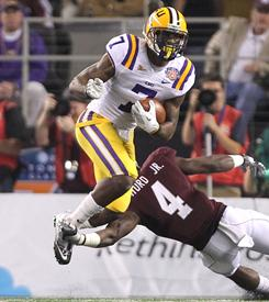 LSU cornerback Patrick Peterson is physical in coverage and has dynamic return skills.