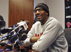 Amare Stoudemire, speaking during a Tuesday news conference, says the acquisition of Carmelo Anthony makes the Knicks tougher to defend.