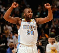Newcomer Raymond Felton struggled to four points on 2-of-8 shooting, but he and the Nuggets celebrated a victory over the Celtics.