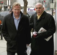 Commissioner Roger Goodell, left, and Peter Ruocco, NFL senior vice president for Labor Relations, right, are part of the league's contingent meeting with the NFLPA and a federal mediator.