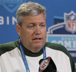 Jets coach Rex Ryan addresses the media at the NFL scouting combine in Indianapolis.