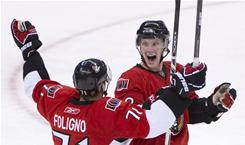 Erik Condra, right, scored his first two career goals and Nick Foligno also scored to lead the Senators to a win.