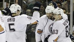 Edmonton Oilers defenseman Ladislav Smid, left, and forwards Dustin Penner, center, and Ales Hemsky could be on the move before Monday's 3 p.m. ET trade deadline. 