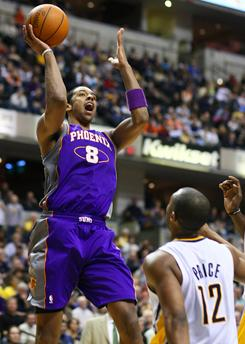 The Suns' Channing Frye, shooting over the Pacers' AJ Price, hit the game-winning jumper as time expired in overtime to lead Phoenix to a 110-108 win.