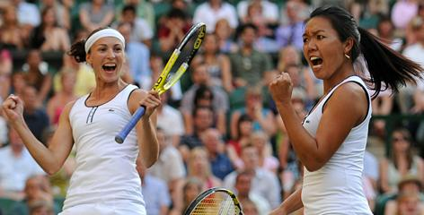 Vania King and Yaroslava Shvedova, left, celebrate during their Wimbledon victory in July. The two teamed up for the first time at the start of the grass-court season, then won Wimbledon and followed up with a victory at the U.S. Open.