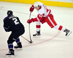Darren Helm scored one of seven goals for the Red Wings as Detroit blew past the Kings in Los Angeles.