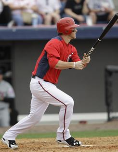 Nationals' Bryce Harper got his first hit of the spring in the fifth inning.