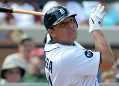 Tigers' Miguel Cabrera went 0-2 with a walk in his first game back.